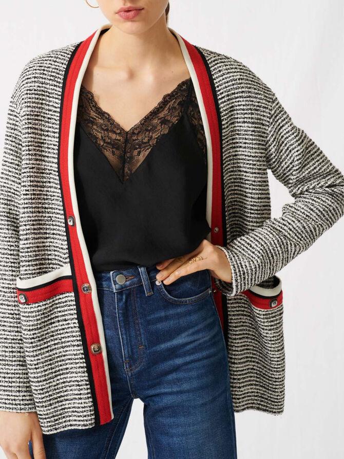 Cardigan effetto tweed a fasce colorate - Pullover e cardigan - MAJE