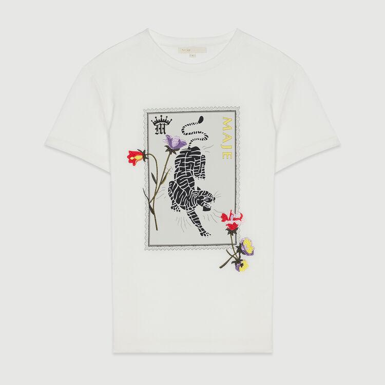 Tee-shirt stampata con ricami : T-Shirts colore Bianco
