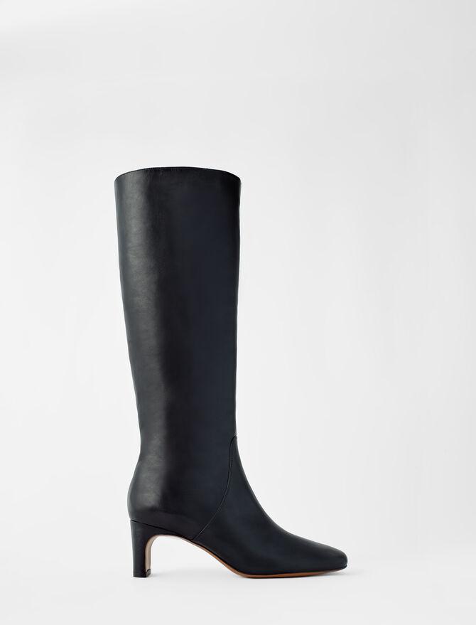 Stivali in pelle con tacco medio - Stivali e Stivaletti - MAJE