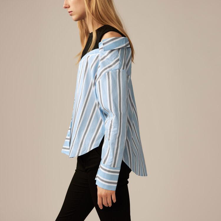 Camicia destrutturata in popeline rigato : Twisted stripes colore Ceruleo