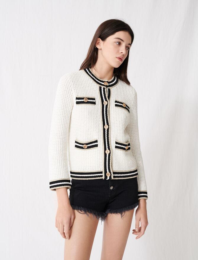 Cardigan in maglia con fasce a contrasto - Pullover e cardigan - MAJE