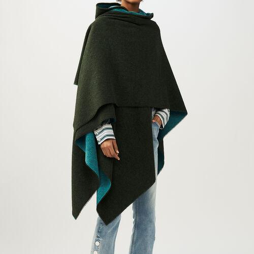 Poncho reversibile con cappuccio : Scialli & Poncho colore Kaki