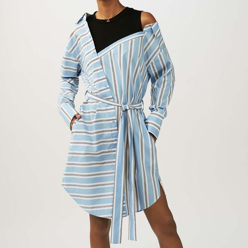 Striped dress with t-shirt plain color : Vestiti colore Ceruleo