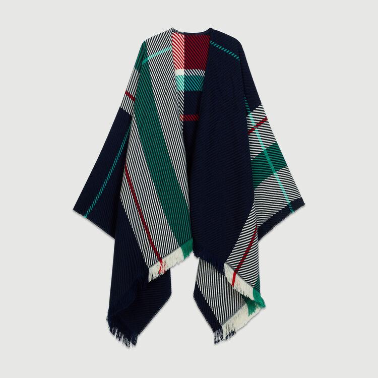 Poncho in maglia jacquard : Scialli & Poncho colore Blu