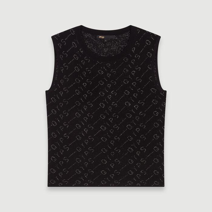 Pull senza maniche in jacquard Lurex : Pullover e cardigan colore Nero
