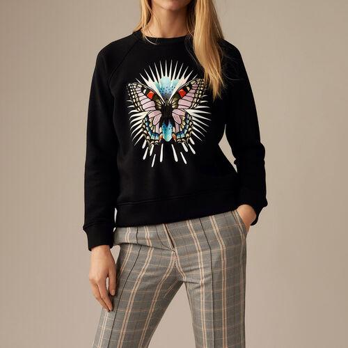 Felpa con farfalla ricamata : Pullover e cardigan colore Nero