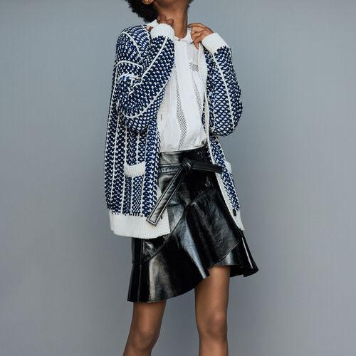 Gilet oversize in maglia jacquard : Maglieria colore Blu