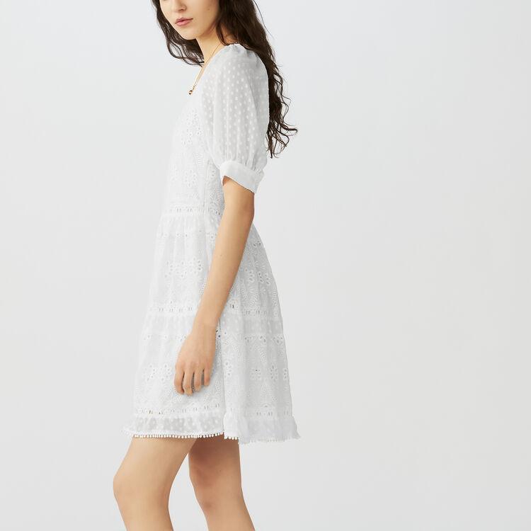 Vestito corto ricamato : Vestiti colore ECRU