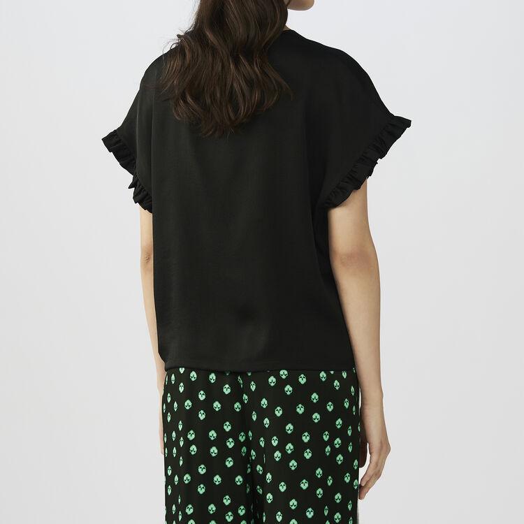 Top largo con dettagli volant : T-Shirts colore Nero