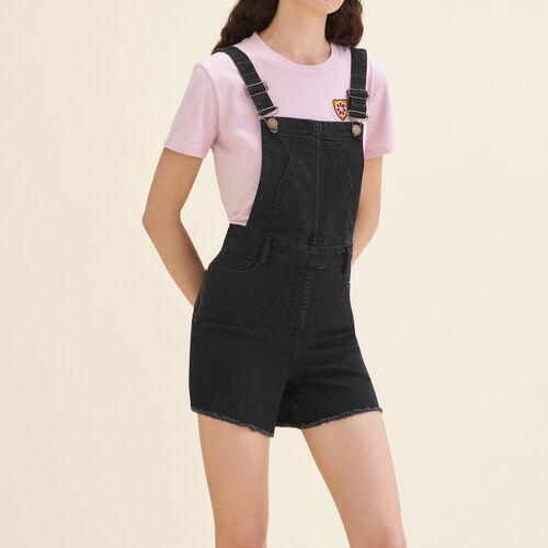 Salopette-short in denim : Gonne e shorts colore Nero