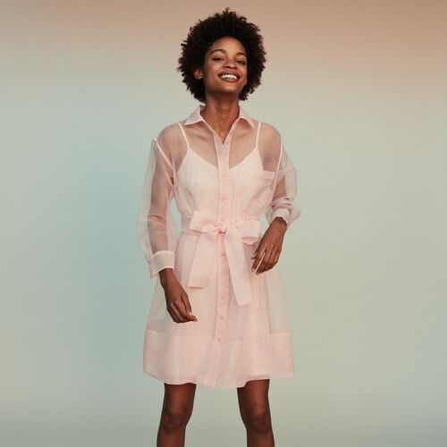 Scamiciato in organza : Vestiti colore Rosa Tenue