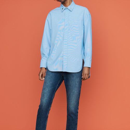 Camicia oversize con doppio collo : Camicie colore Ceruleo