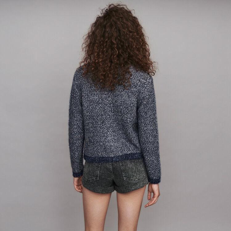Cardigan in maglia fantasia Lurex : Pullover e cardigan colore Blu