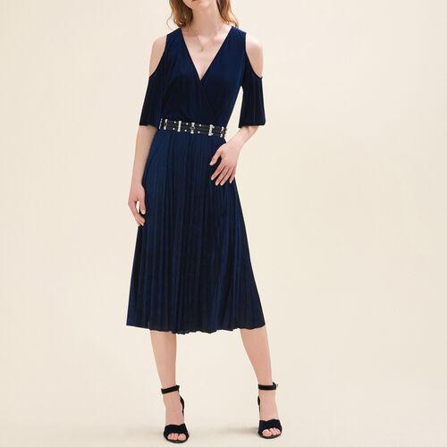 Abito plissettato con spalle scoperte : Vestiti colore Blu Notte