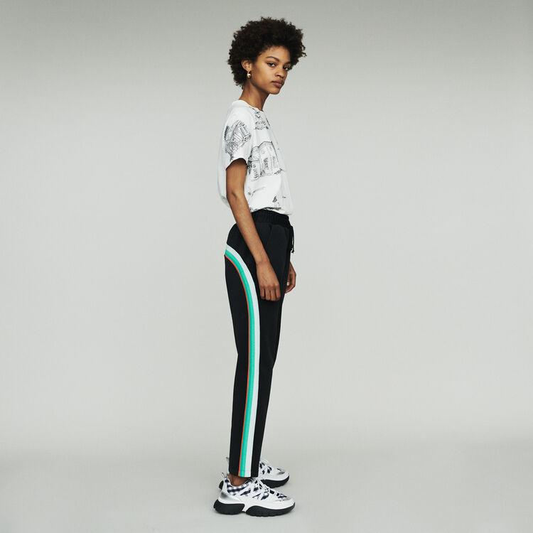 Pantaloni sportivi con bande laterali : Pantaloni e Jeans colore NERO