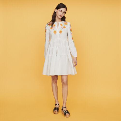 Vestito in lino con ricami : Vestiti colore Bianco