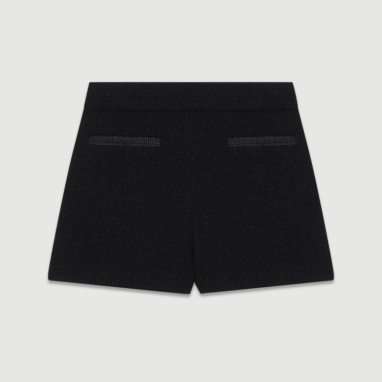 Short a vita alta in tweed con perle : Gonne e shorts colore Nero