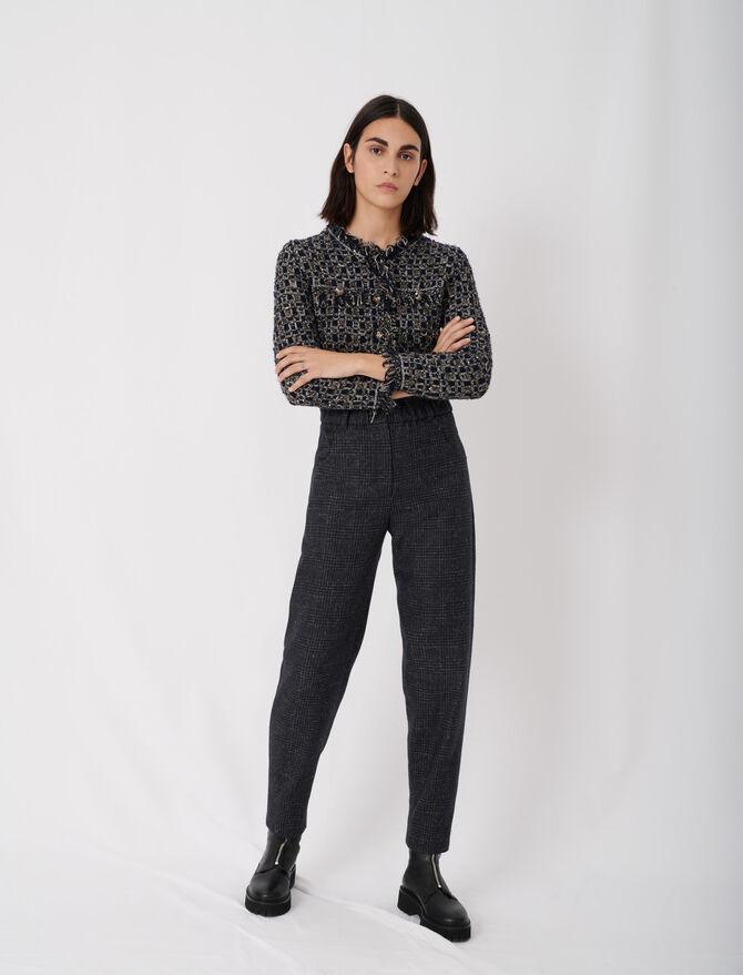 Pantaloni a quadri in lana riciclata - null - MAJE