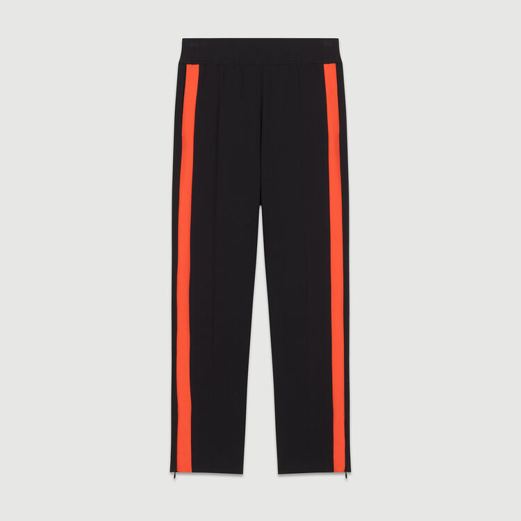 Pantalone dritto con bande a contrasto : Pantaloni colore Nero