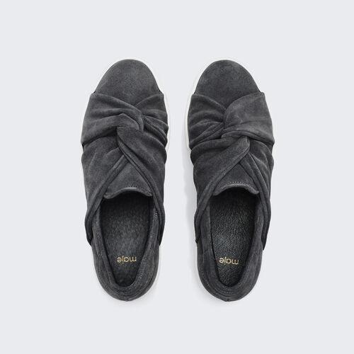 sneaker in pelle scamosciata con nodo : Accessori colore Grigio