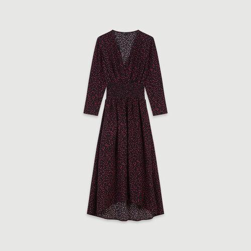 Vestito con smock in crêpe stampata : Vestiti colore Nero