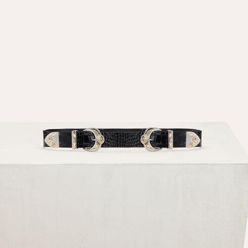Cintura a doppia fibbia in coccodrillo : Cinture colore Nero