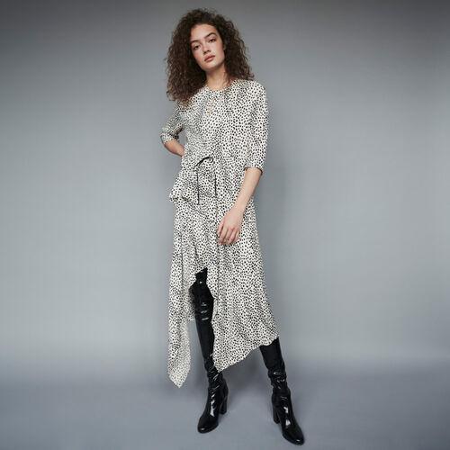 Vestito asimmetrico in jacquard stampato : Collezione Inverno colore Bianco