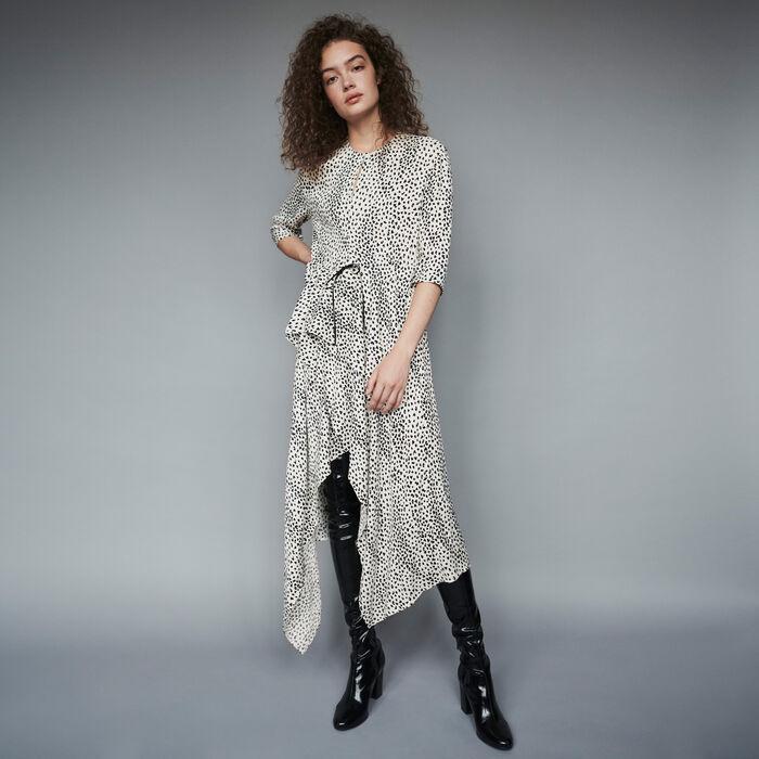 Vestito asimmetrico in jacquard stampato : Vestiti colore Bianco