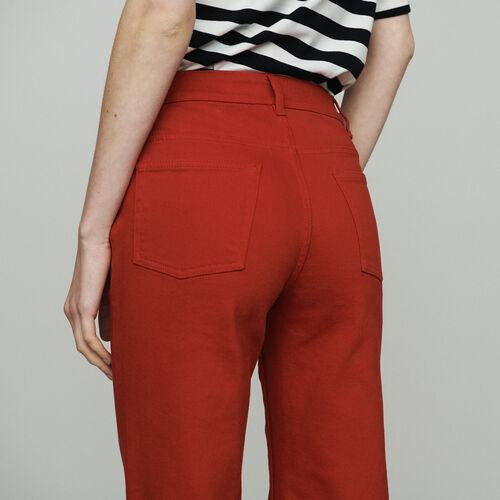 Jeans larghi a vita alta : Jeans colore Rosso
