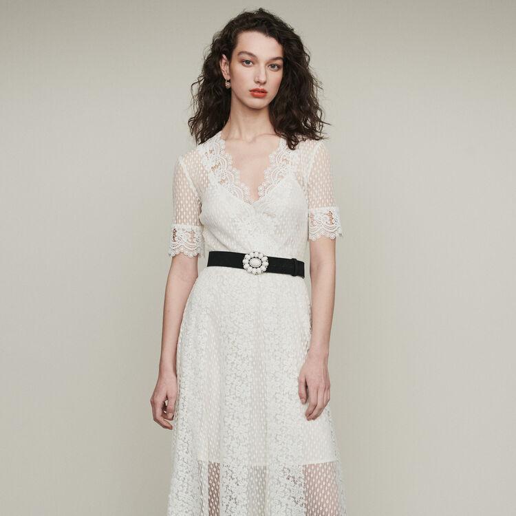 Vestito lungo in plumetis e pizzo : Vestiti colore Bianco