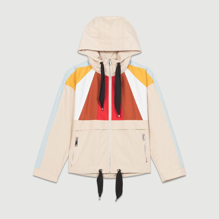 Anorak corto multicolore : Giubbotti colore Beige