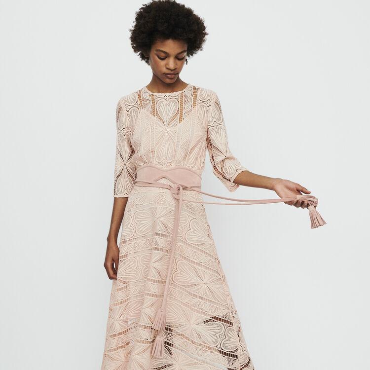 Long dress in guipure : Vestiti colore Rosa