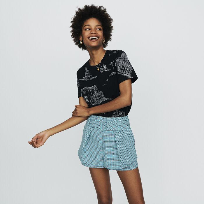 Short in natté stile tweed : Gonne e shorts colore Blu