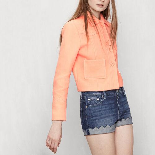 Giacca corta con inserti : Giacche e giubbotti colore Mandarino