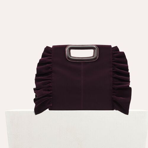 Borsa M con volant in velluto : Look per le feste colore BORDEAUX