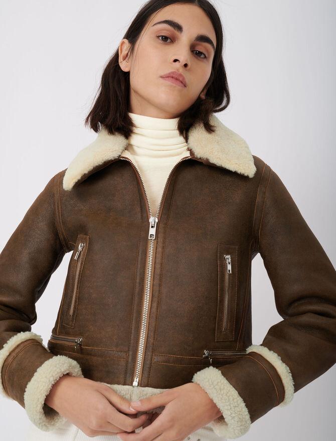 Giubbotto in pelle e finta pelliccia - eco-sostenibile - MAJE