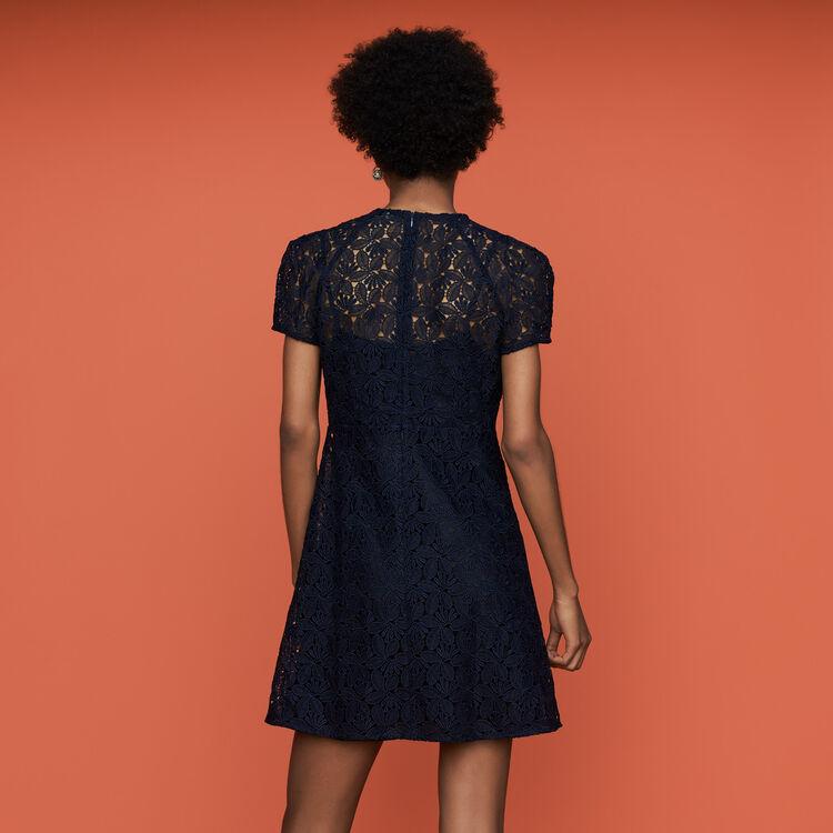 Vestito dritto in pizzo : Vestiti colore Blu Marino