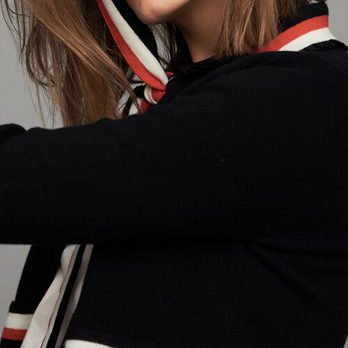 Short cardigan with contrasting stripes : Maglieria colore Nero