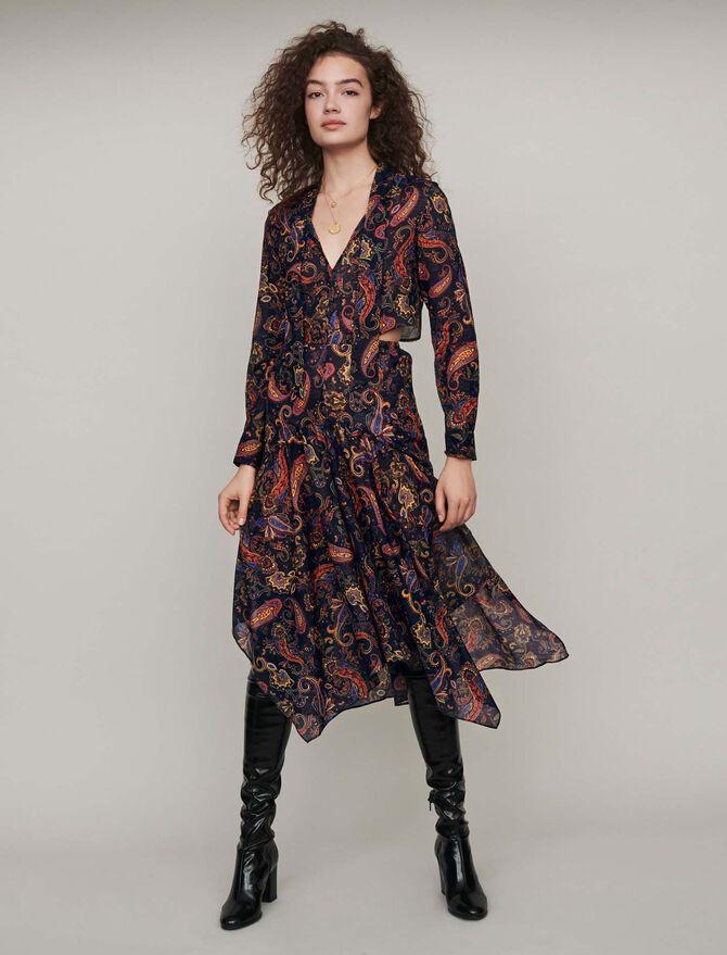 Vestito foulard in cotone stampato -  - MAJE