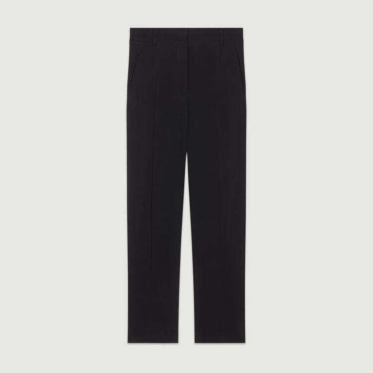 Pantalone dritto in viscosa : Pantaloni colore Nero