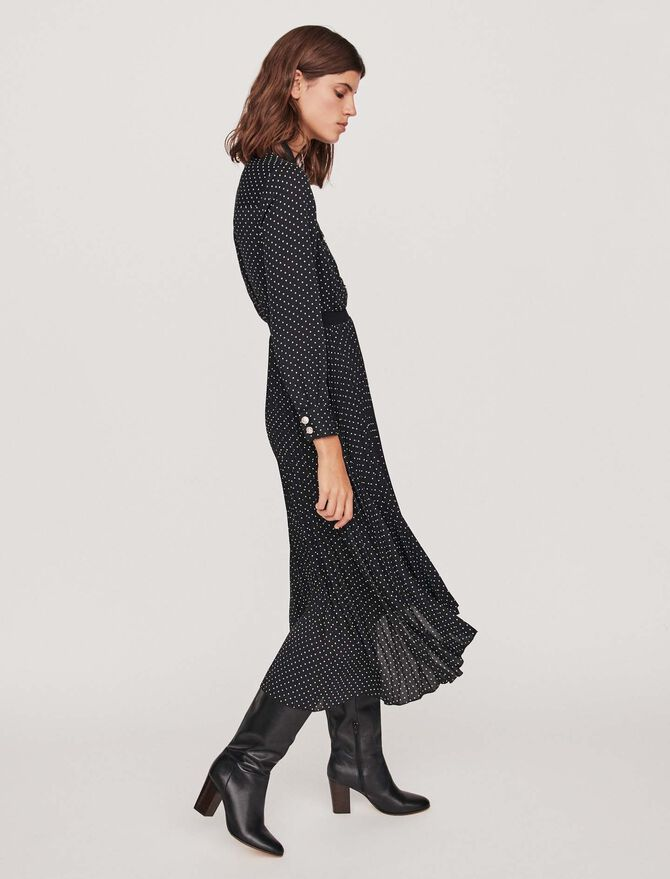 Long pleated dress with polka dots - Tutta la collezione - MAJE