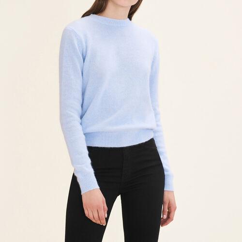 Pullover in angora con apertura : Pullover e cardigan colore Ceruleo