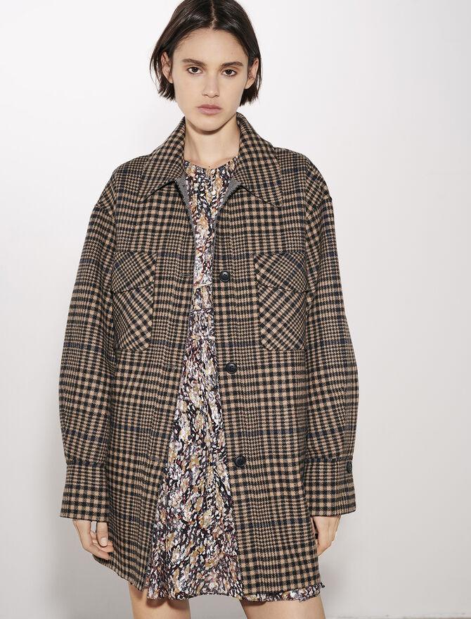 Cappotto con cintura e stampa a quadri -  - MAJE