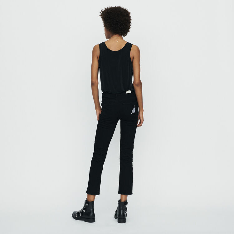 Jeans dritti con frange e ricami : Pantaloni e Jeans colore Nero