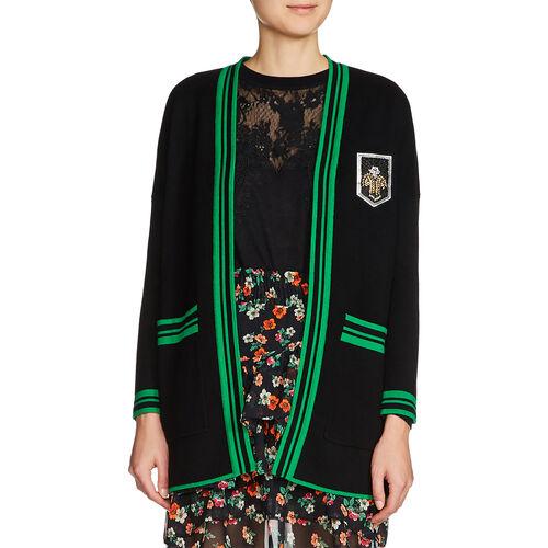Cardigan longuette con stemma : Pullover e cardigan colore Nero