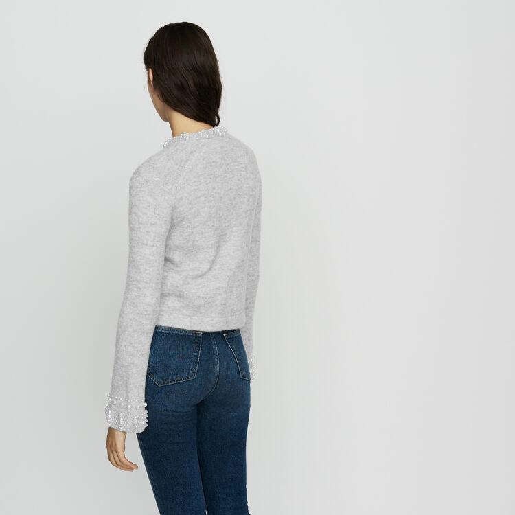 Cardigan in misto lana con perle : Maglieria colore Grigio