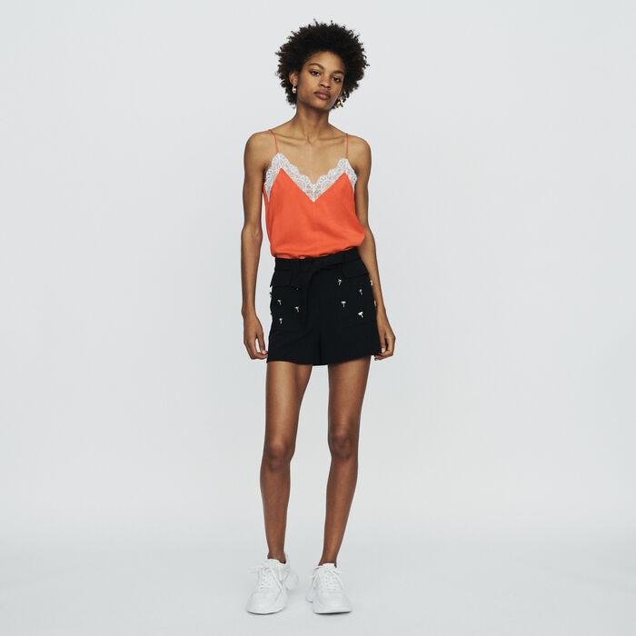 Short in crêpe con palme gioiello : Gonne e shorts colore Nero