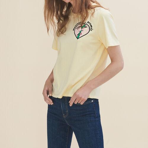 T-shirt ricamata Mercoledì : T-shirts colore Giallo