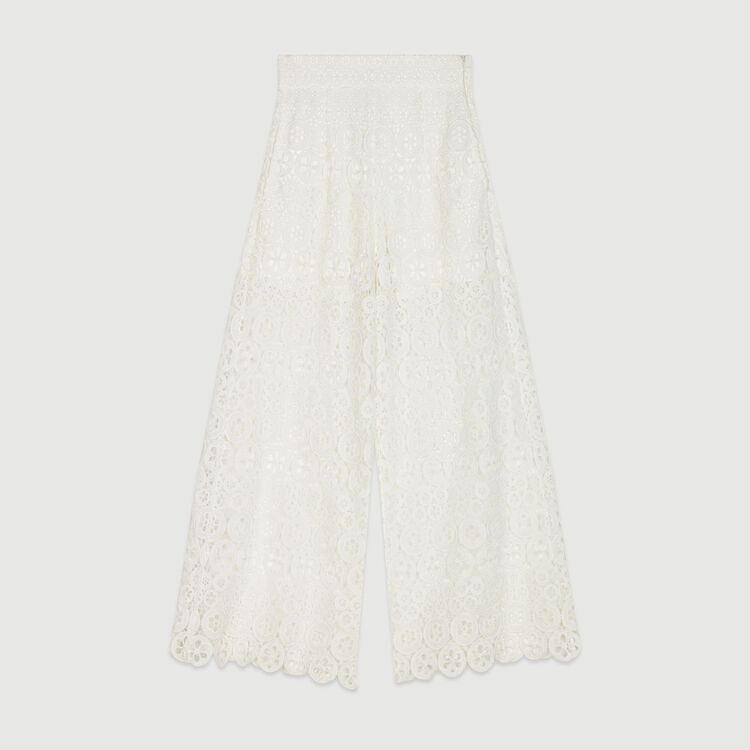 Pantaloni pinocchietto larghi in pizzo : Pantaloni e Jeans colore Bianco
