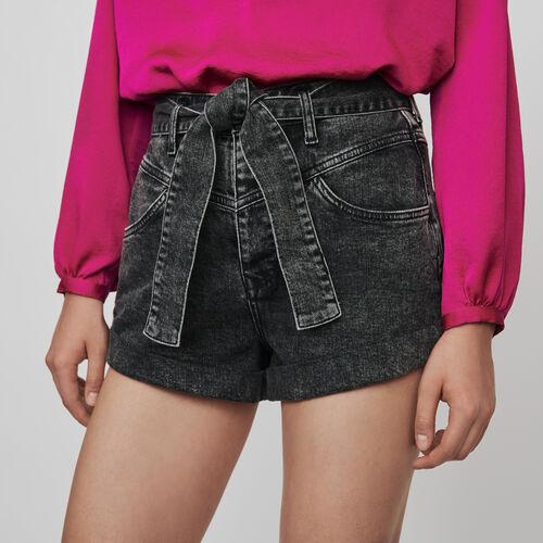 Short delavè con cintura : Collezione Inverno colore Antracite